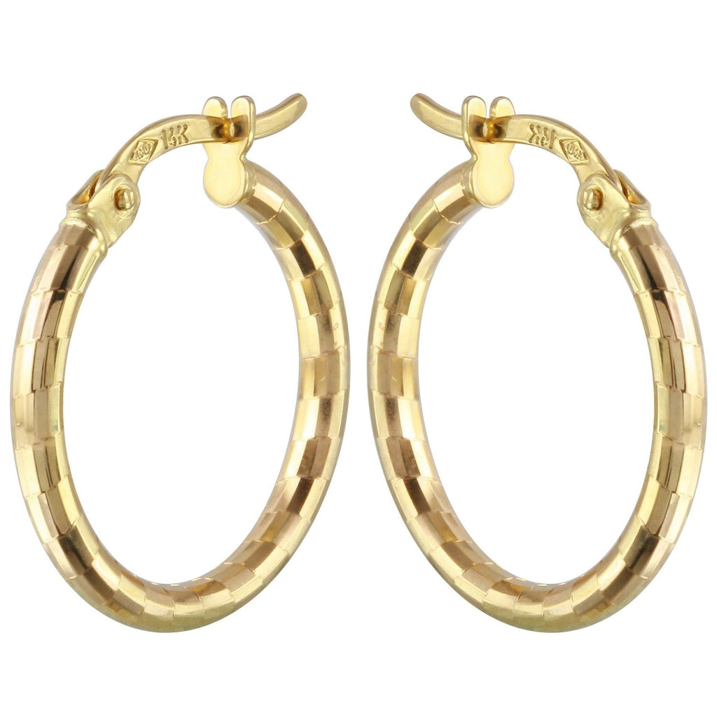 14k Yellow Gold Fancy Hoop Earrings - Bee Jewels