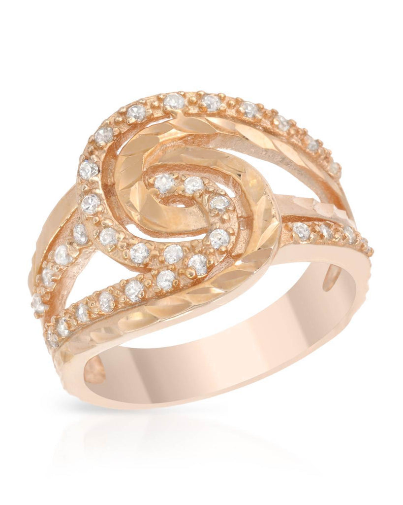 Tangled Double Loop RING CZ rose gold Sterling Silver