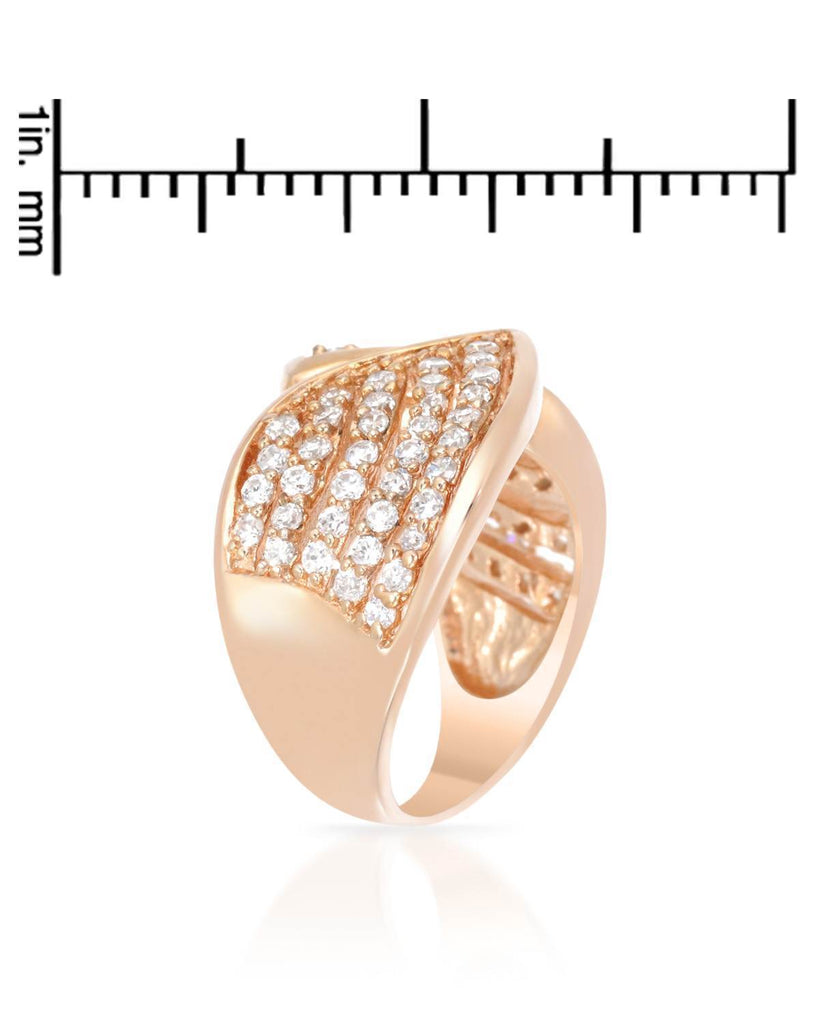 Artistic Leaf Tips Ring rose gold CZ Sterling Silver