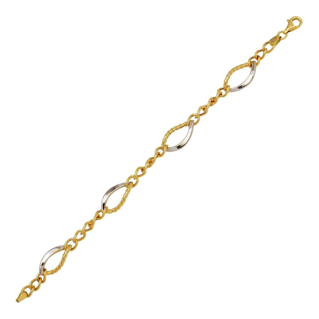14k Two-Tone Gold Curved Link Bracelet, 7.25""