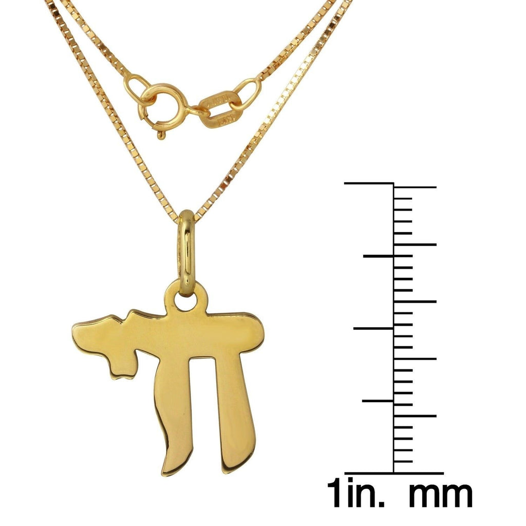 14k Yellow Gold Jewish Chai Pendant, 18""