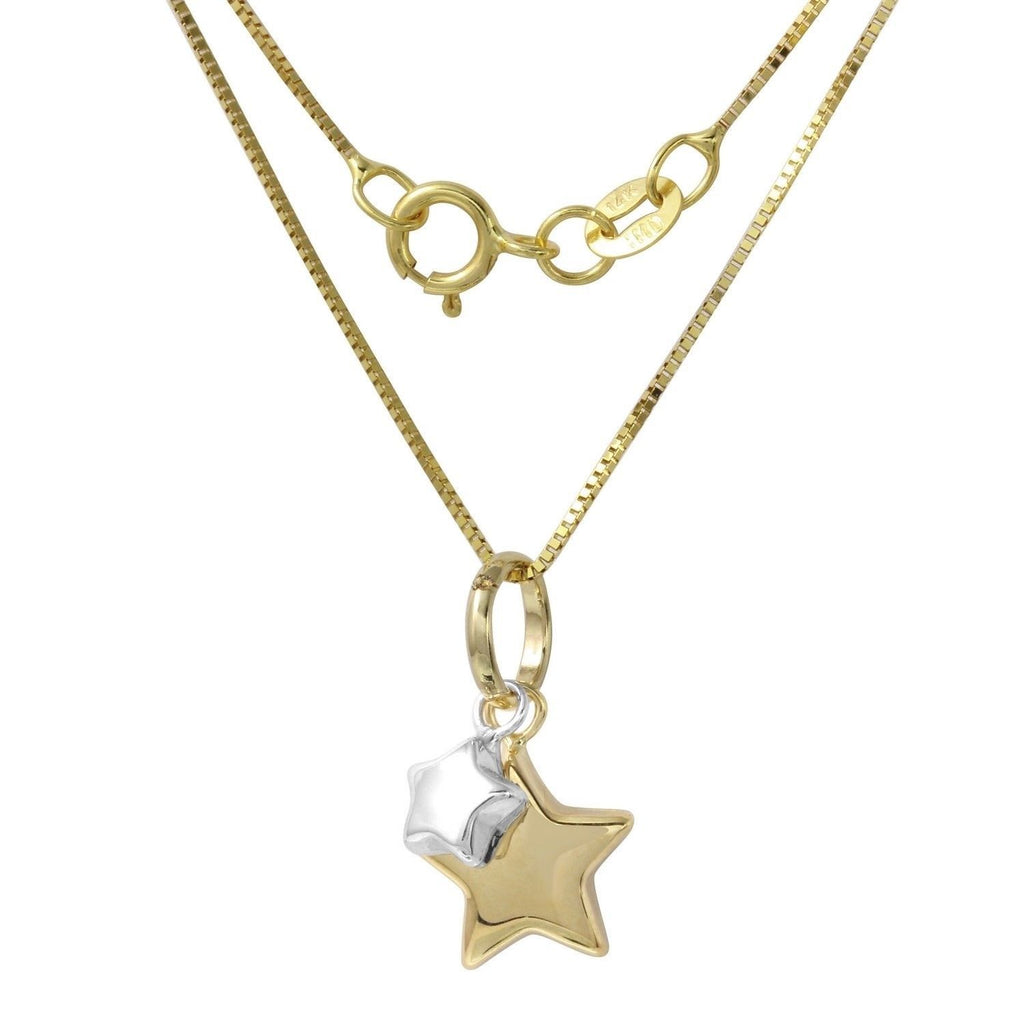 14k Two-Tone Gold Italian Twin Stars Pendant Box Chain Necklace, 16""