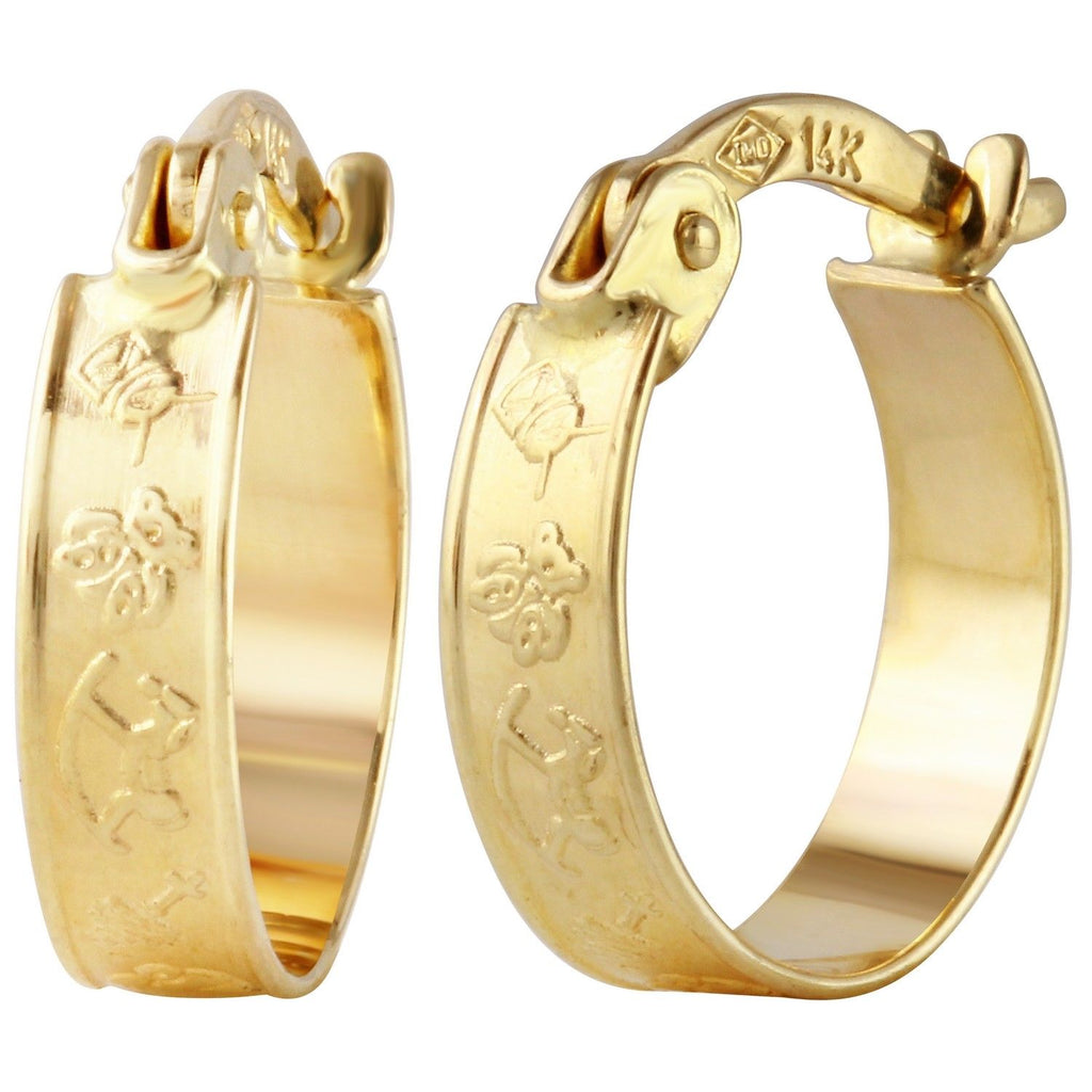 "14k Yellow Gold Huggie Child's Hoop Earrings (0.5"" Diameter)"