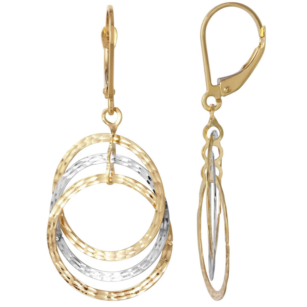 14k Two-Tone Gold Triple Circle Dangle Earrings