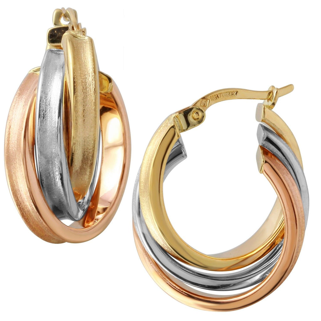 14k Tri-Color Gold Hoop Earrings (.7mm Diameter)