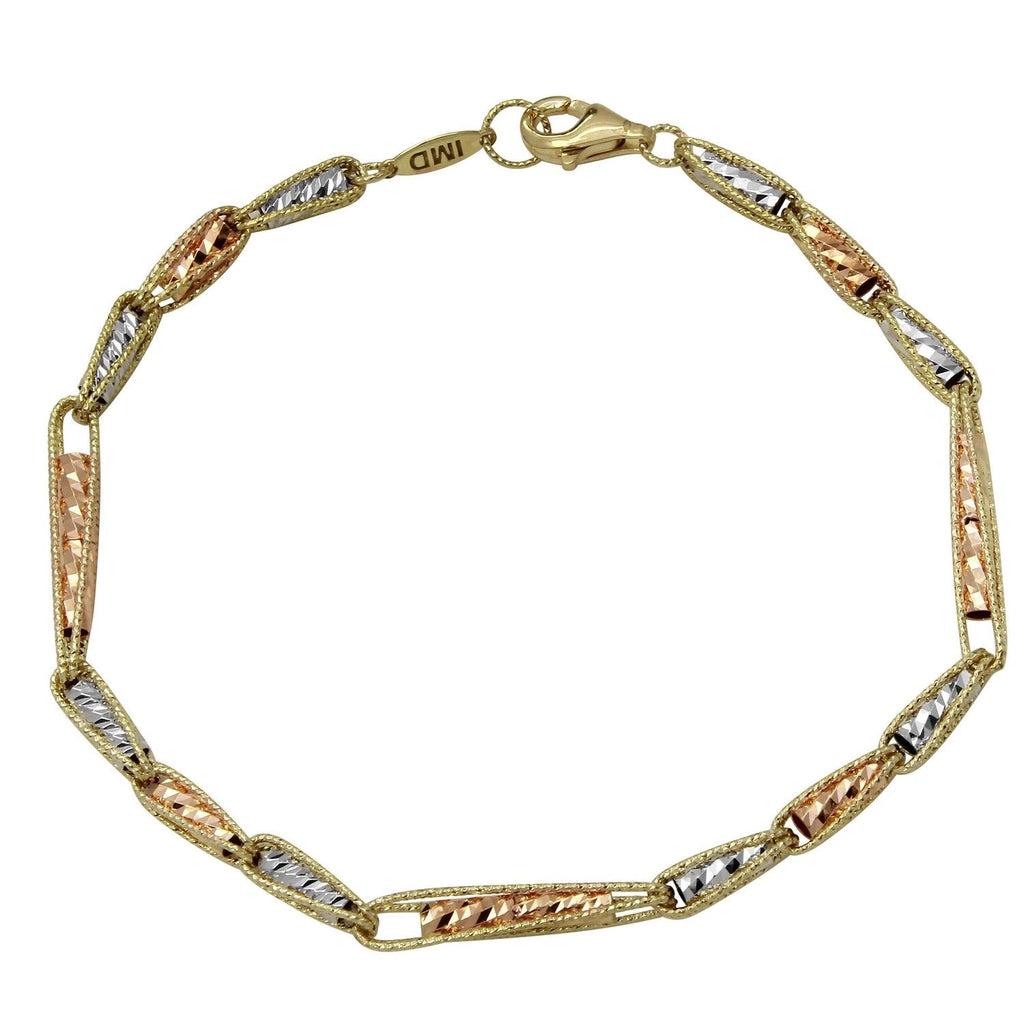 "14k Tri-Color Gold Filigree Diamond-Cut Bracelet, 7.25"" - Bee Jewels"