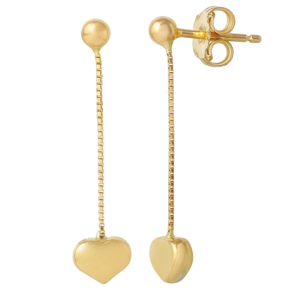 14k Yellow Gold Italian Heart Dangle Earrings