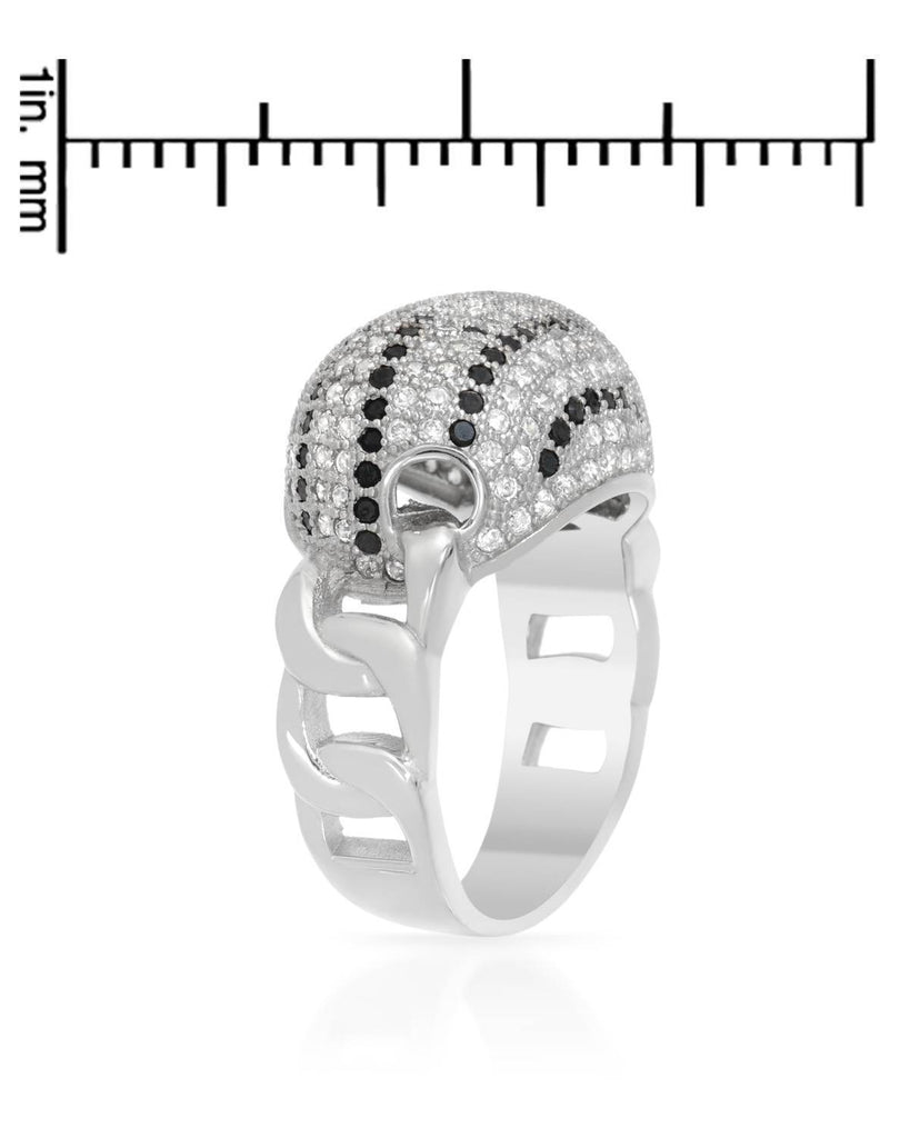 Puffy Oval Striped Cubic Zirconia Sterling Silver Ring