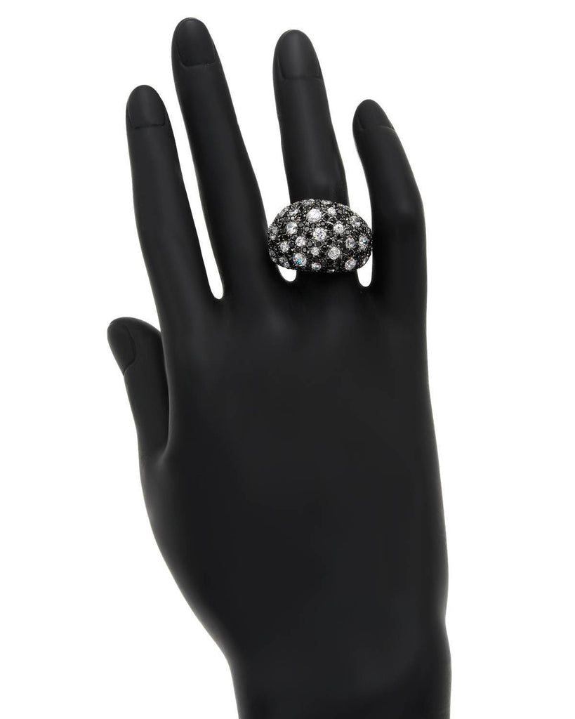Deluxe Polka Dot Black CZ Sterling Silver Ring
