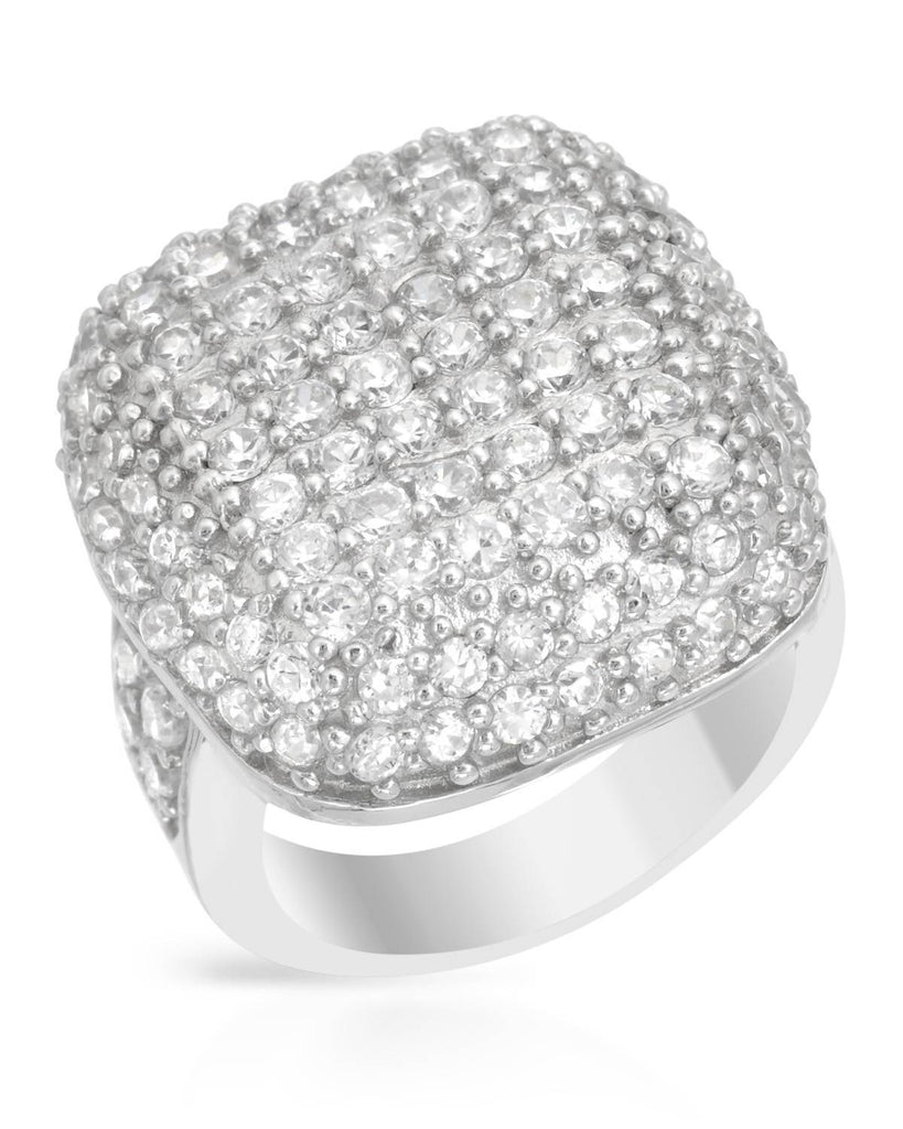 Puffy Square Pave Ring CZ Sterling Silver SIZE 6.25