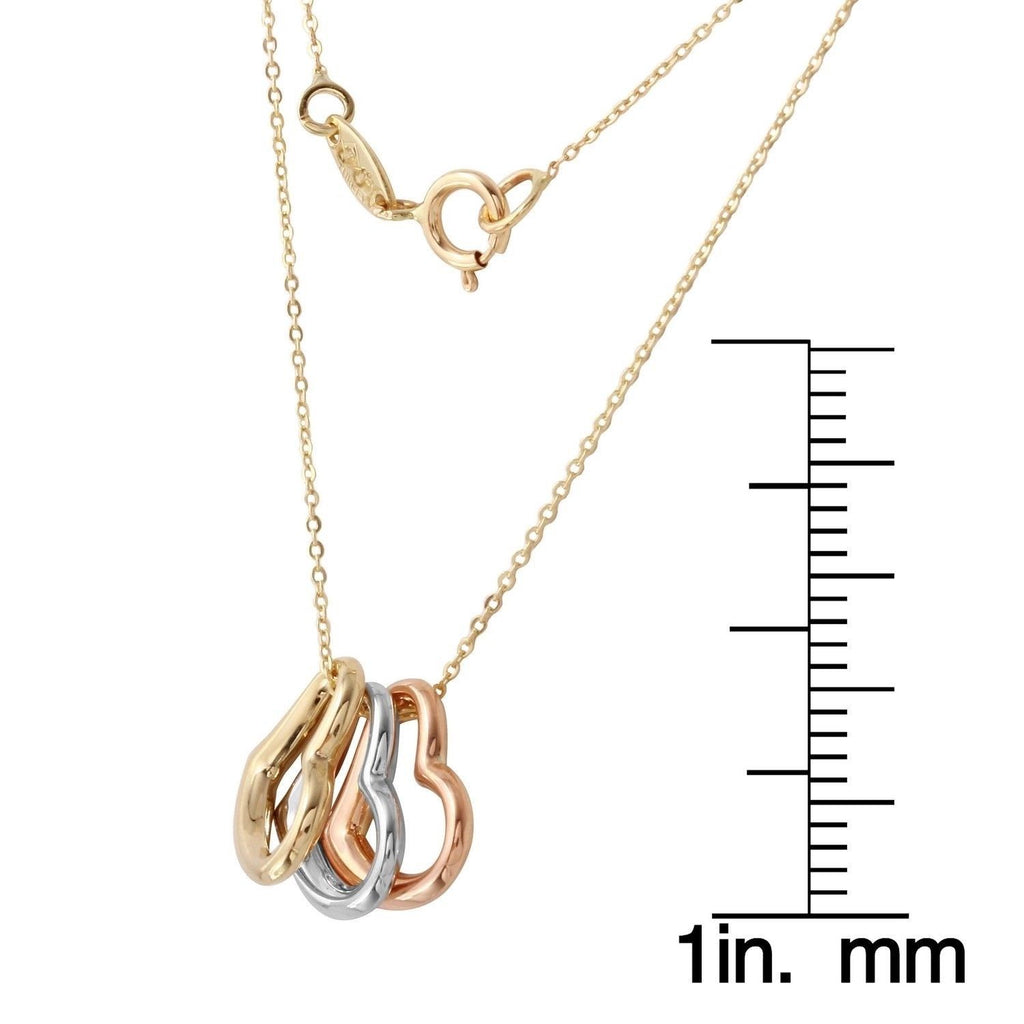 14k Tri-Color Rolo Chain Trio Hearts Necklace, 17""