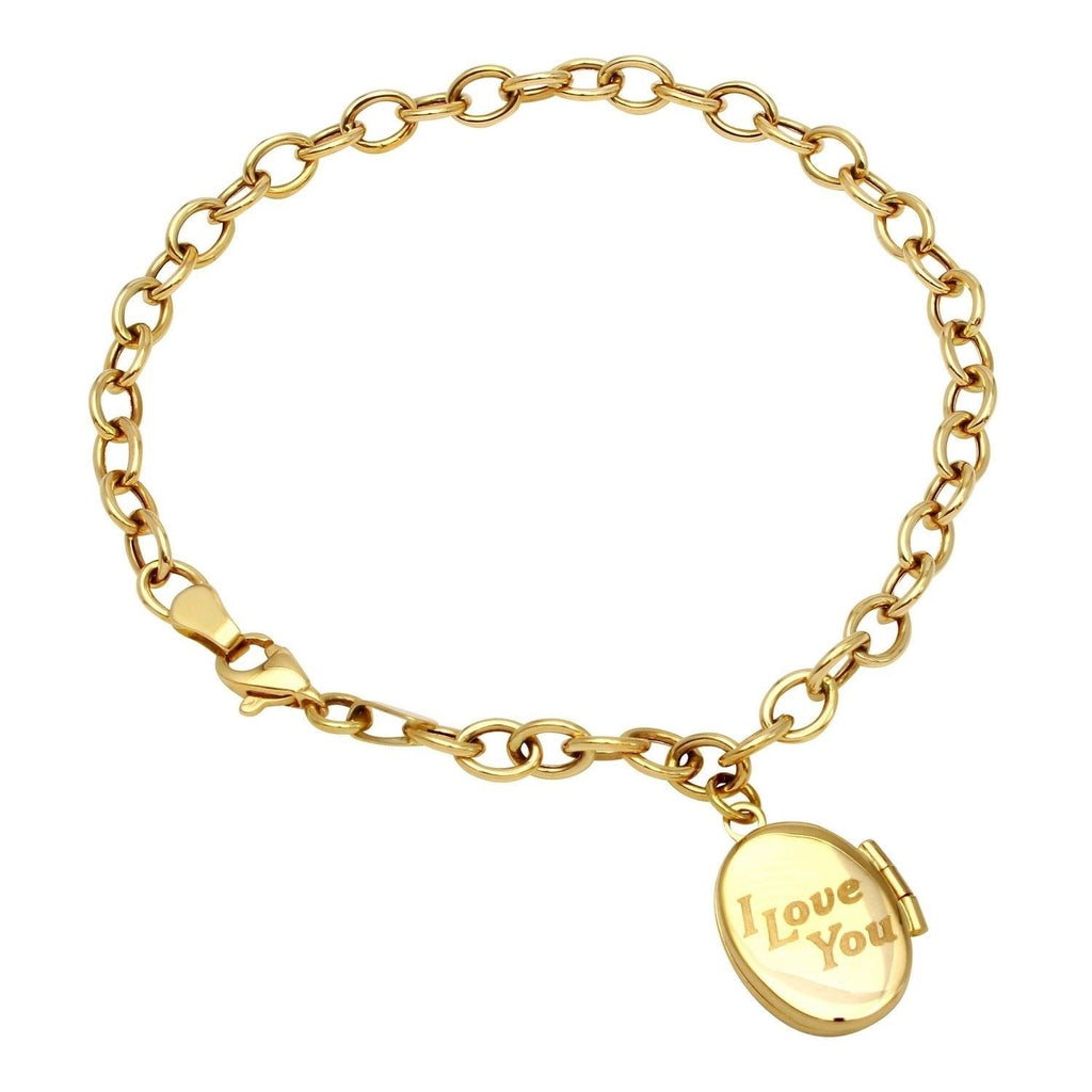 14k Yellow Gold Locket Bracelet, 7.5""
