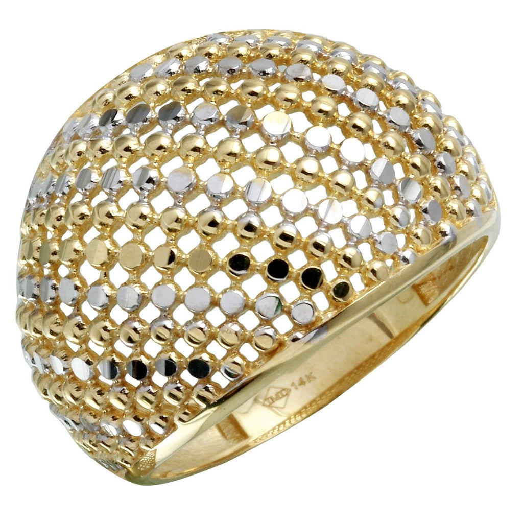 14k Two-Tone Gold Diamond-Cut Dome Ring, Size 7