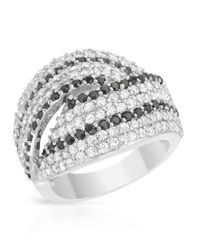 Overlapping Striped Bands RING CZ Sterling Silver SIZE 6