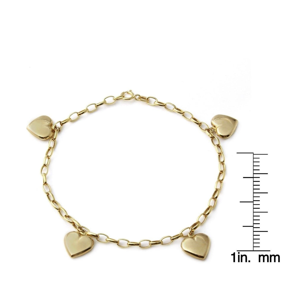 14k Yellow Gold Italian Dangling Heart Charm Bracelet, 7.25""