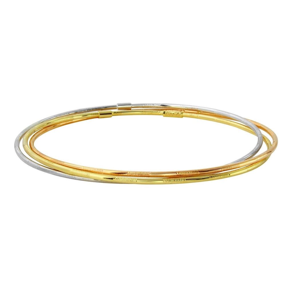14k Tri-Color Gold Slip-On Trio Bangle Bracelet Set, 7.75""