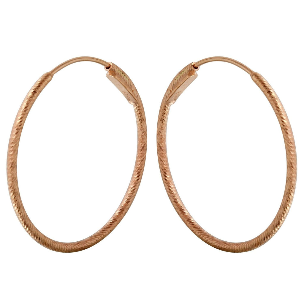 14k Rose Gold 1.2mm Diamond-Cut Hoop Earrings - Bee Jewels