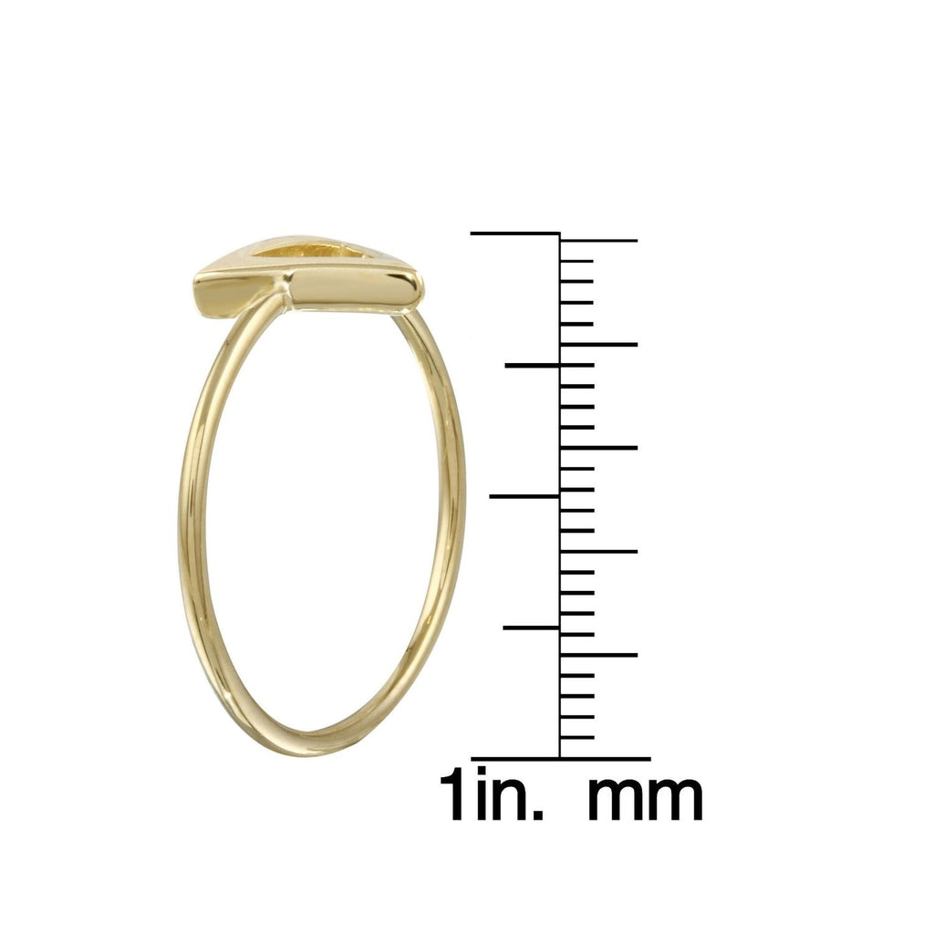 14k Italian Yellow Gold Triangle Stacking Ring, Size 7 - Bee Jewels