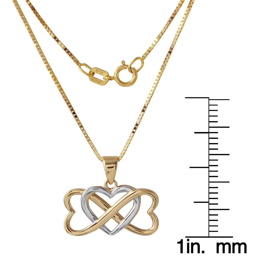 14k Two-Tone Gold Entwined Hearts Pendant Necklace, 18""