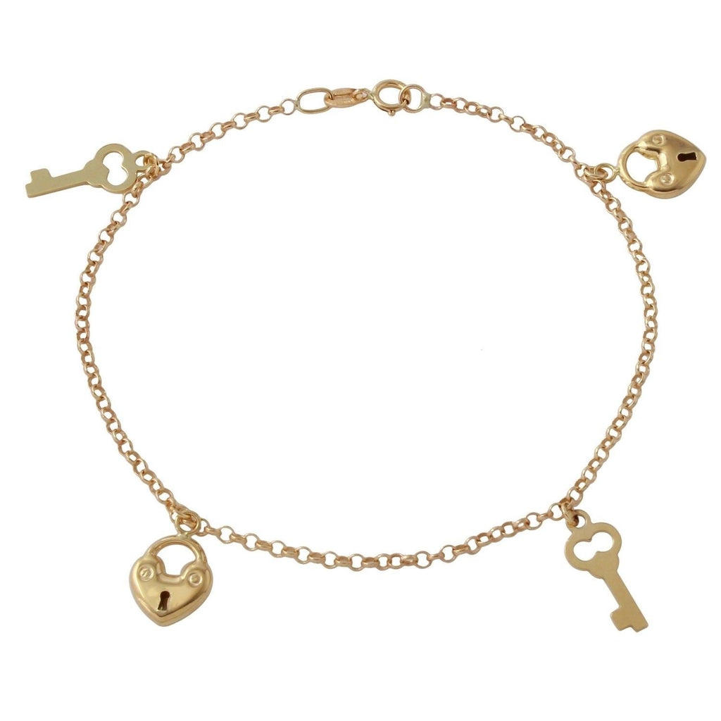 14k Yellow Gold Italian Heart Key Charm Bracelet, 7.25""