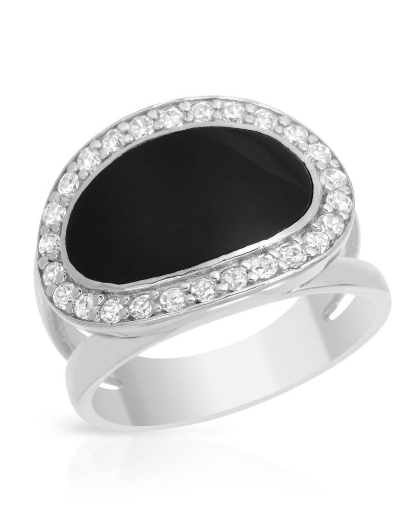 Smooth Black Oval Ring framed in CZ with Sterling Silver SIZE 10