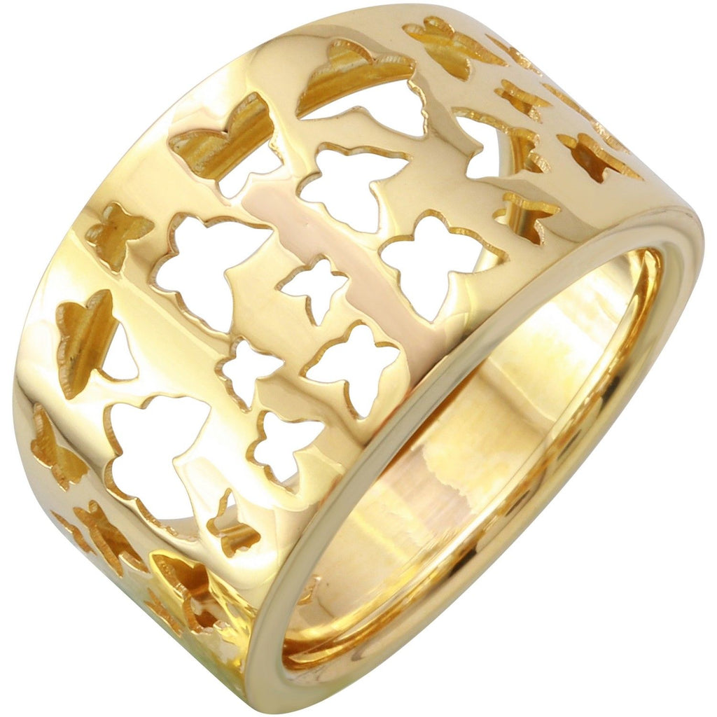14k Yellow Gold Butterfly Ring, Size 7 - Bee Jewels