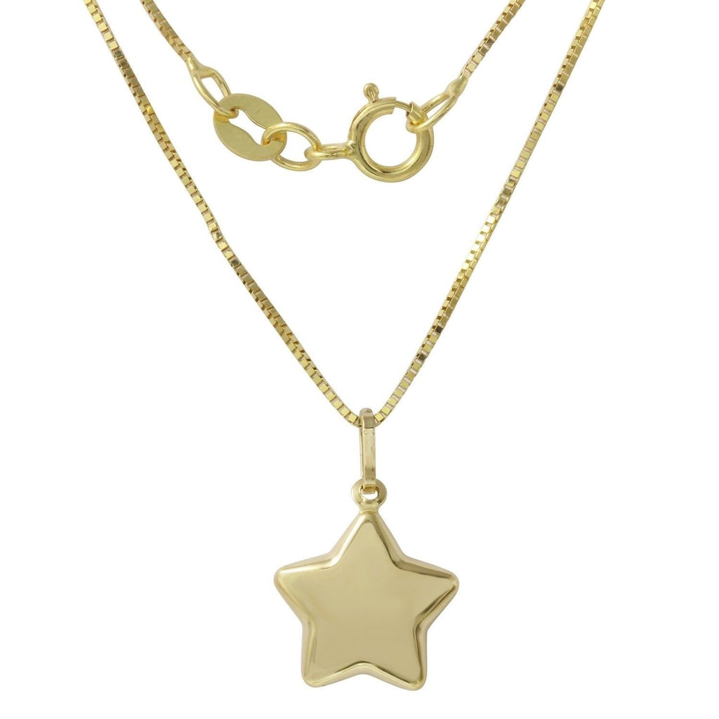 14k Yellow Gold Italian Star Pendant Necklace, 16""