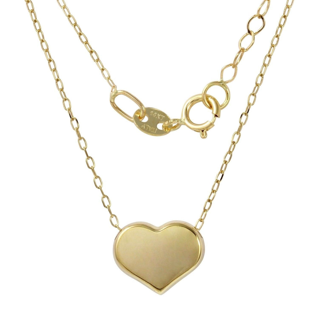 "14k Yellow Gold Italian Heart Pendant Necklace, 16+2"" Extender"