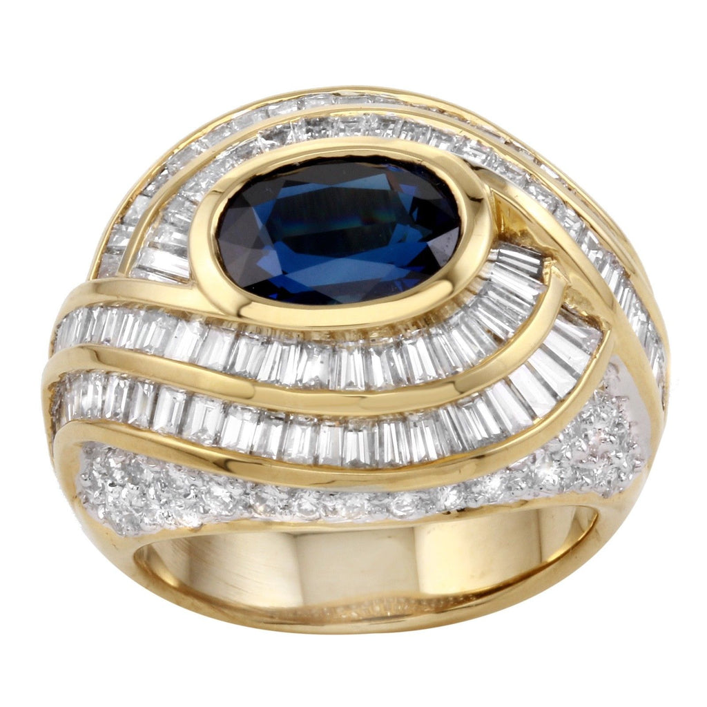 Women's 18k Yellow Gold Diamond Sapphire Ring SIZE 6.5