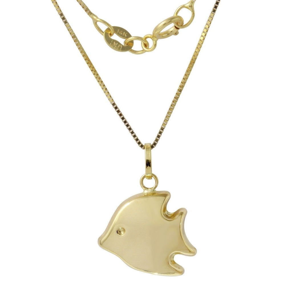 14k Yellow Gold Italian Fish Pendant Box Chain Necklace, 16""