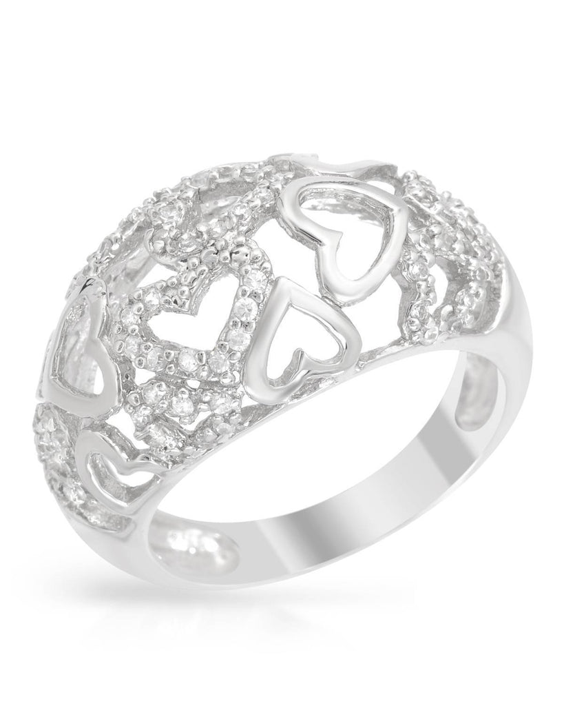 Sterling Silver CZ Mounded Heart Cluster Ring