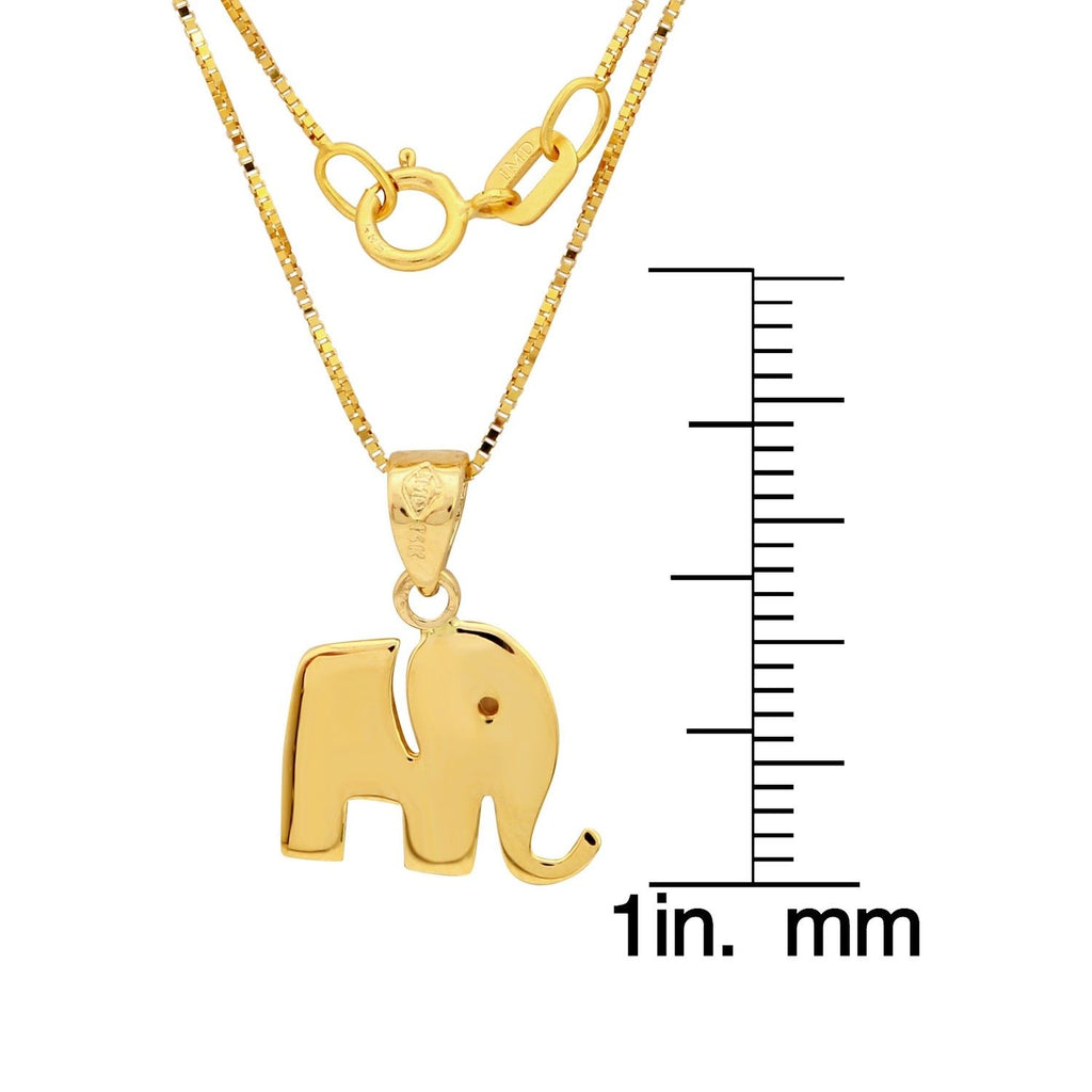 "14k Gold Elephant Pendant Necklace, 18"" - Bee Jewels"