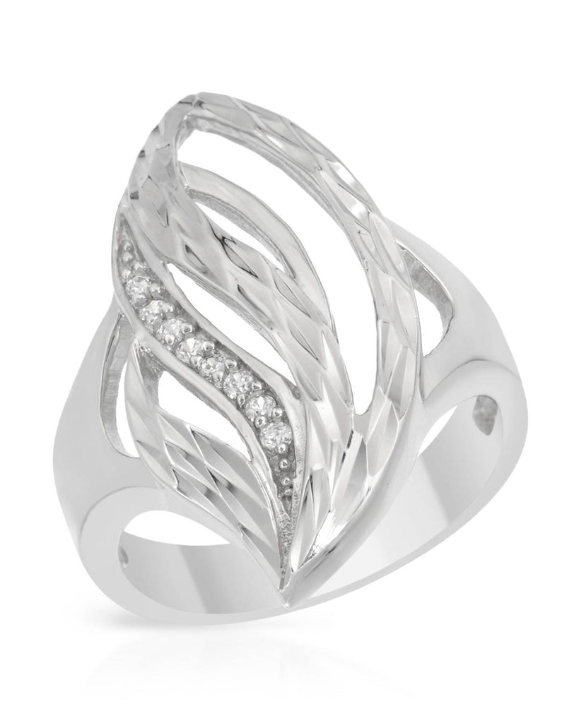 Stunning Wavy Tear Drop Ring CZ Sterling Silver
