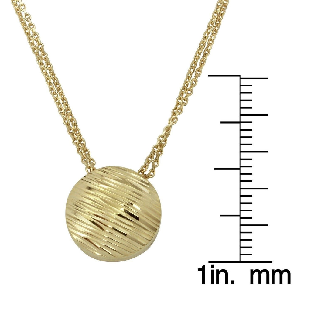 "14k Yellow Gold Circular Engraved Pendant Necklace, Adjustable 16"" to 18"" - Bee Jewels"
