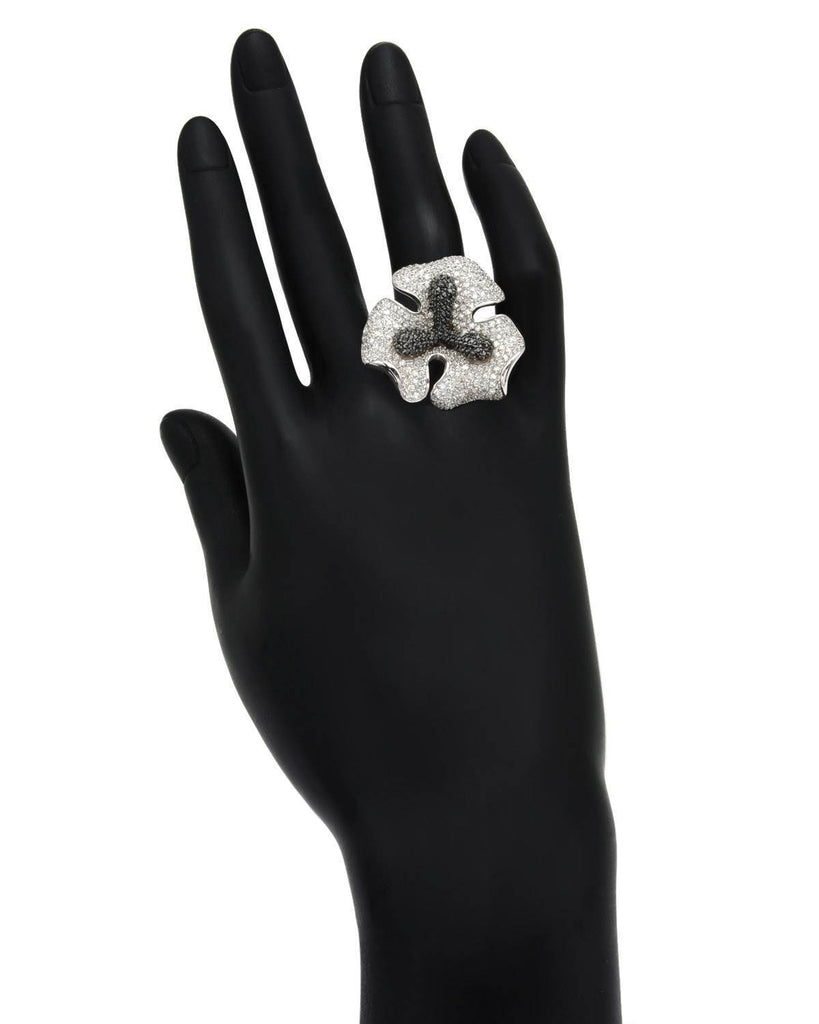 Lovely Lily Flower Ring CZ Sterling Silver