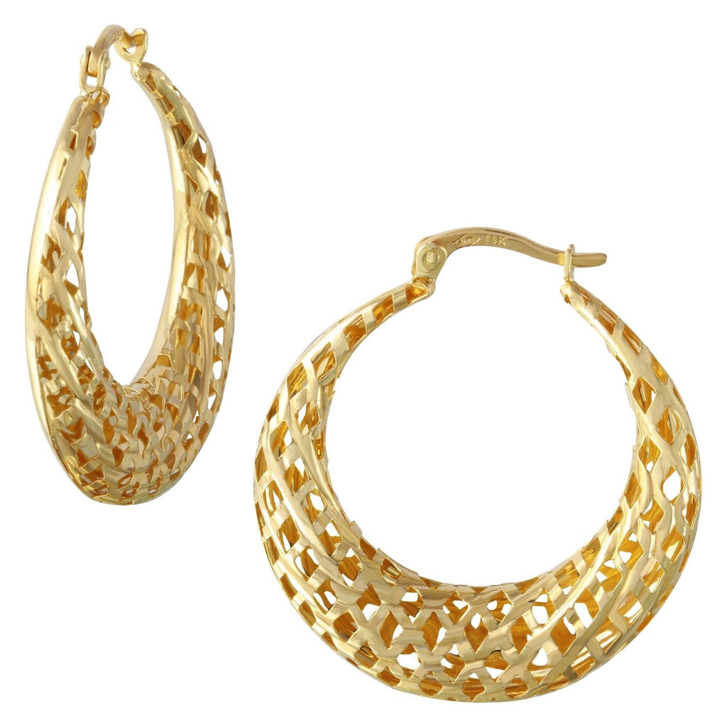 14k Yellow Gold Geometric Cut-Out Hoop Earrings - Bee Jewels