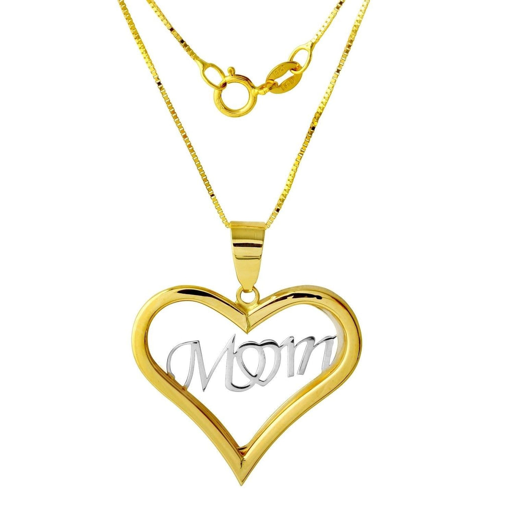 "14k Two-Tone Gold Heart ""Mom"" Pendant Necklace, 18"""