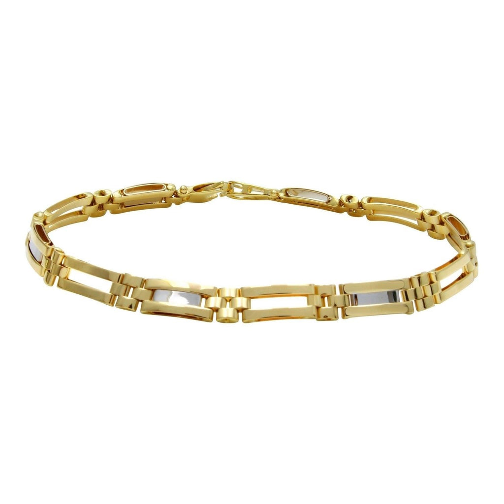 14k Two-Tone Gold Fancy Link Bracelet, 8.5""