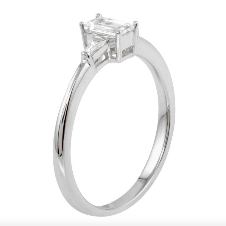14k White Gold CZ Baguette Three-Stone Wedding Engagement Size 7.5