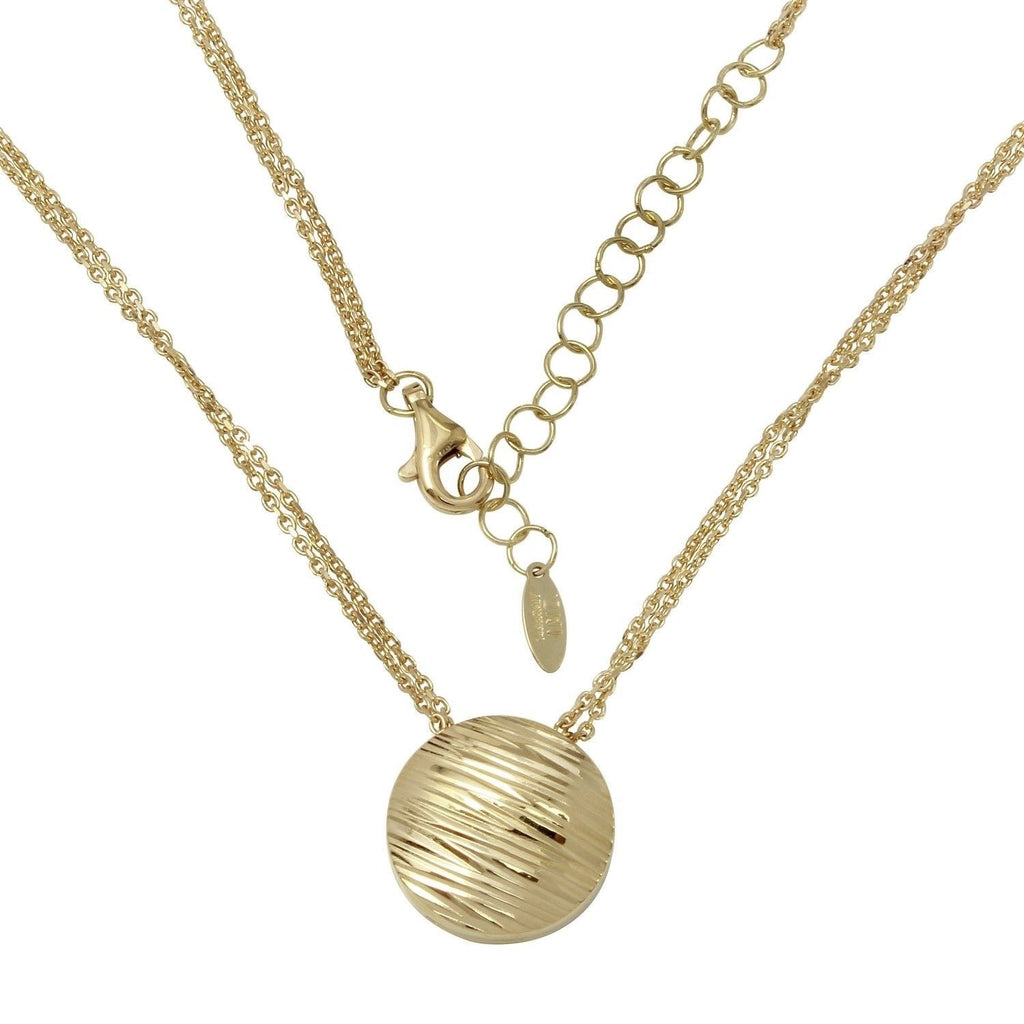 "14k Yellow Gold Circular Engraved Pendant Necklace, Adjustable 16"" to 18"""