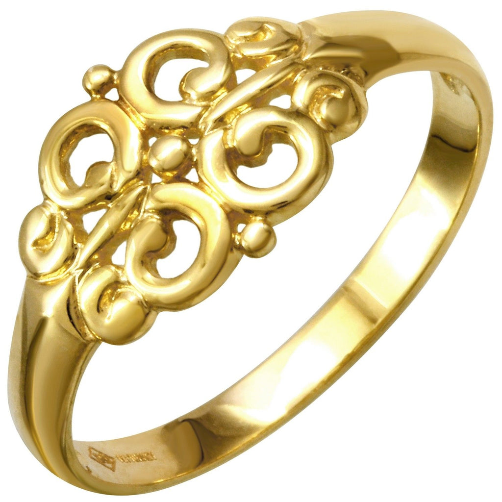 14k Yellow Gold Filigree Ring, Size 7 - Bee Jewels