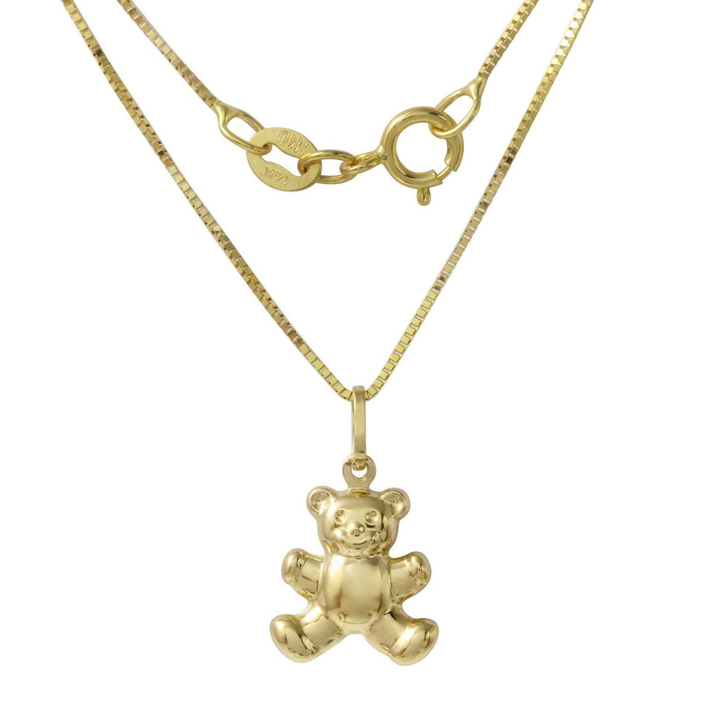 14k Yellow Gold Italian Teddy Bear Pendant Box Chain Necklace, 16""