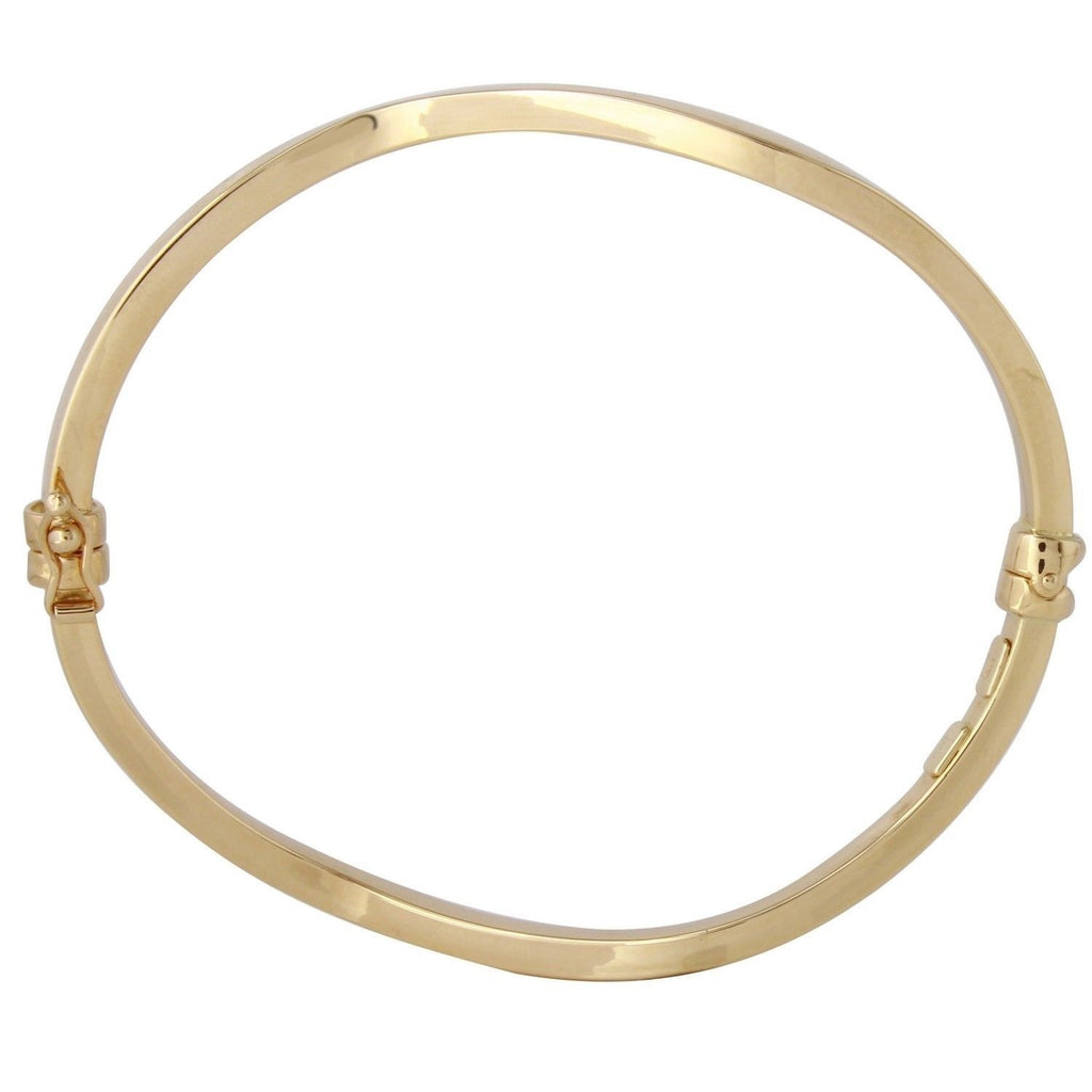 14k Yellow Gold Italian Square Tube Twisted Bangle Bracelet, 7""