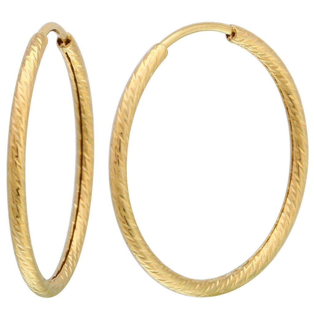 14k Yellow Gold Diamond-Cut Medium Hoop Earrings - Bee Jewels