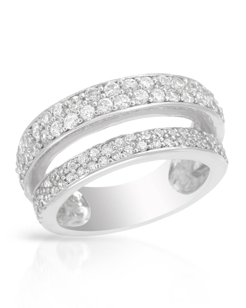 Tiered Double-Banded Ring CZ Sterling Silver SIZE 6