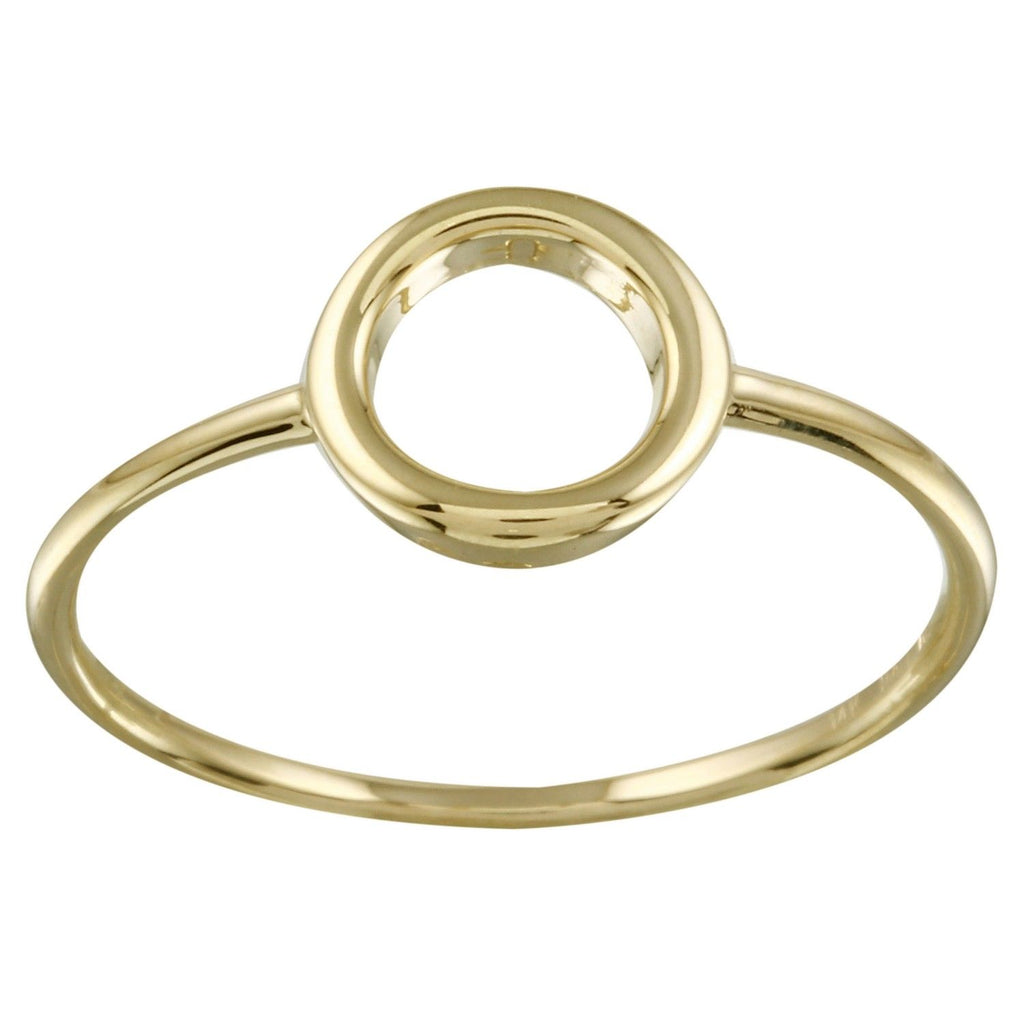 14k Yellow Gold Italian Open Circle Ring, Size 7