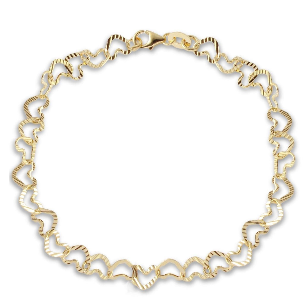 14k Yellow Gold Hammered Heart Italian Bracelet, 7""