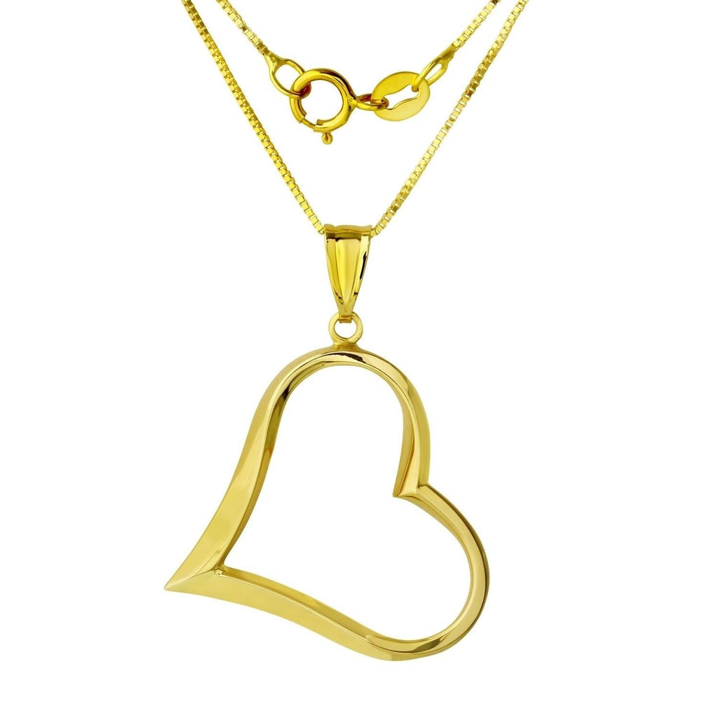 "14k Gold Heart Pendant Necklace, 18"" - Bee Jewels"