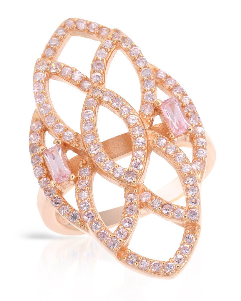 Stunning CZ rose gold Sterling Silver Ring