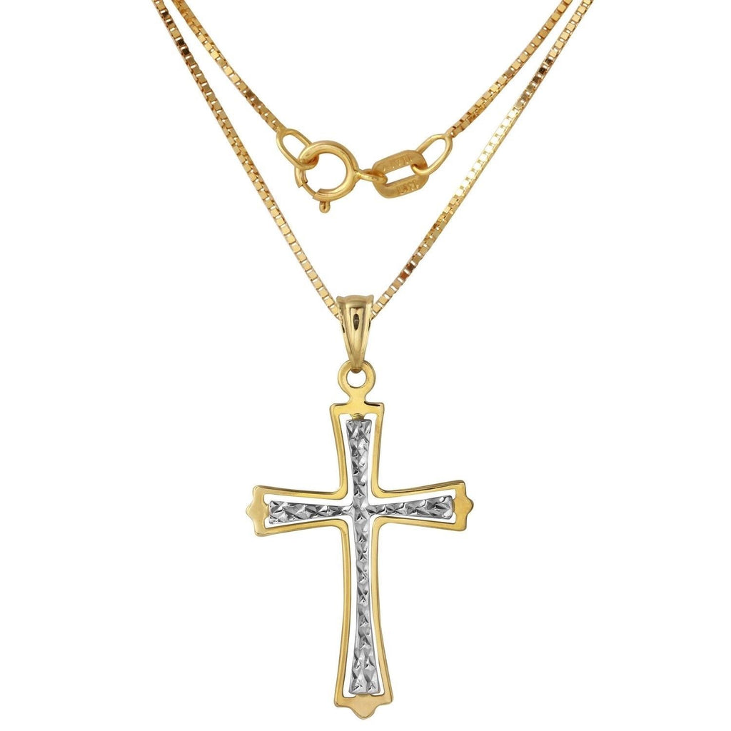 14k Two-Tone Gold Diamond-Cut Cross Necklace, 18""